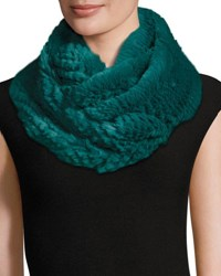 Jocelyn Rabbit Fur Infinity Scarf Turquoise Turquoise Storm