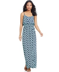 Trixxi Juniors' Sleeveless Tiered Printed Dress Navy