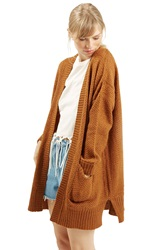 Topshop Honeycomb Knit Open Front Cardigan Brown