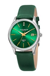 Akribos Xxiv Women's Diamond Leather Strap Green
