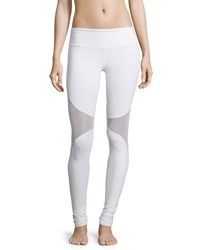Alo Yoga Coast Mesh Panel Sport Leggings White White White