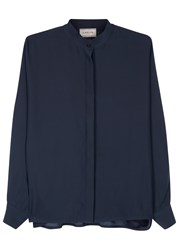 Lanvin Dark Blue Dolman Sleeve Silk Blouse