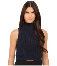 Zac Posen Liv Turtle Crop Navy Black Women's Sweater Blue