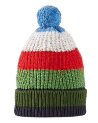 Gucci Striped Knitted Beanie Hat Green Blue