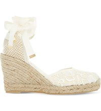 Dune Kloss Crochet Espadrille Wedge Sandals White Fabric