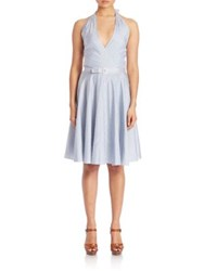 Polo Ralph Lauren Stripe Silk Fit And Flare Dress Blue White