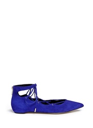 Pedder Red 'Joey' Lace Up Suede Flats Blue