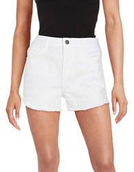 Design Lab Lord And Taylor Embroidered Jean Shorts White