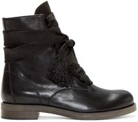 Chloe Black Leather Lace Up Ankle Boots