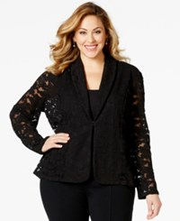 Inc International Concepts Plus Size Shawl Collar Lace Blazer Only At Macy's Deep Black