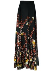 Giambattista Valli Floral Print Long Skirt Black