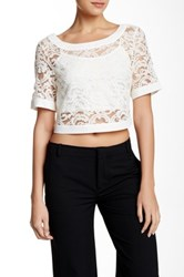 Bcbgeneration Cropped Lace Blouse White