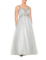 M By Mac Duggal Plus Sequin And Beaded Tulle Gown Platinum