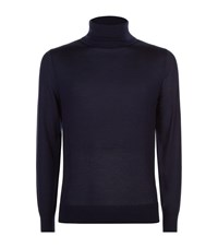 Gieves And Hawkes Cashmere Blend Roll Neck Sweater Male Navy