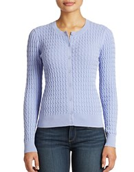 Lord And Taylor Cable Knit Cotton Cardigan Soft Peri