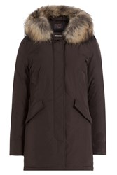 Woolrich Luxury Arctic Down Parka With Fur Trimmed Hood Brown