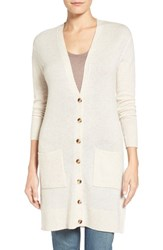 Petite Women's Halogen Wool And Cashmere Long V Neck Cardigan Heather Oatmeal