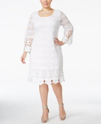 Alfani Plus Size Crochet Trim Lace Shift Dress Only At Macy's Bright White