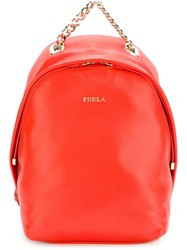 Furla Small Chain Detail Backpack Yellow And Orange