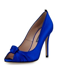 Sarah Jessica Parker Gabrielle Knotted Satin Pump Royal Blue Blue Satin