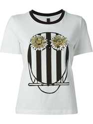 Mother Of Pearl Owl Print Embellished T Shirt White