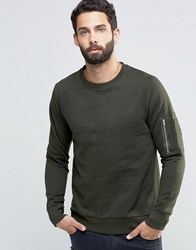 Brave Soul Crew Neck Military Jumper Green
