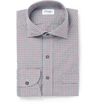 Drakes Gingham Checked Cotton Poplin Shirt Blue