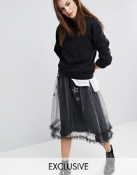 Reclaimed Vintage Sheer Sparkle Mesh Skirt With Star Patches Silver