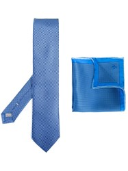 Canali Tie And Pocket Square Set Blue