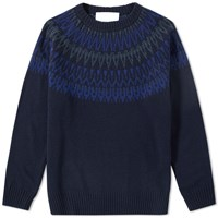 White Mountaineering Round Yoke Jacquard Crew Knit Blue