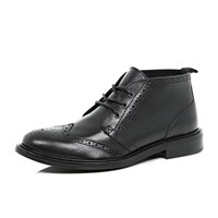 River Island Mens Black Leather Brogue Chukka Boots