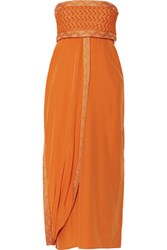 Missoni Layered Silk Blend Midi Dress Bright Orange