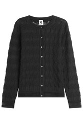 M Missoni Semi Sheer Chevron Knit Cardigan Black