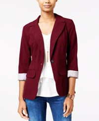 Amy Byer Bcx Juniors' Cuffed Boyfriend Blazer Bordeaux