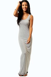 Boohoo Scoop Neck Maxi Dress Grey Marl