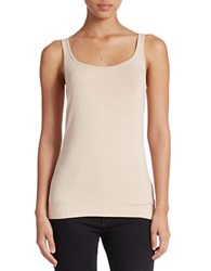 Lord And Taylor Petite Stretch Roundneck Tank Classic Tan