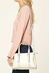 Forever 21 Buckled Faux Leather Satchel Cream