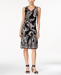 Jm Collection Paisley Print Sleeveless Dress Only At Macy's Deep Black