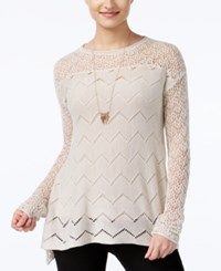 Jessica Simpson Darlanne Mixed Knit Illusion Sweater Oatmeal
