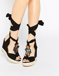 Asos Tropical Embellished Lace Up Wedges Black