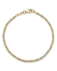 Bloomingdale's 14K Yellow White And Rose Gold Beaded Bracelet