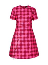 House Of Holland Large Gingham Check Dress With Zips Pink