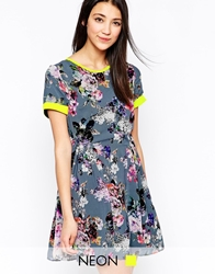 Lashes Of London Floral Dress With Neon Trim Multi