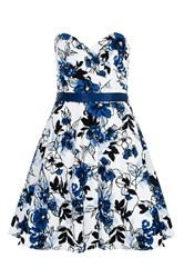 Quiz Blue Floral Crossover Bandeau Dress