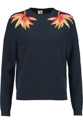 Iris And Ink Petra Felted Intarsia Cashmere Sweater Blue