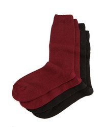 Neiman Marcus Cashmere Blend Two Pack Socks Black Burgundy