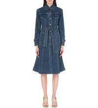 Moandco. A Line Denim Trench Coat Blue Denim