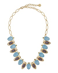 Rj Graziano R.J. Graziano Mixed Cut Rhinestone Leaf Necklace Blue Purple