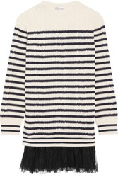 Red Valentino Redvalentino Chantilly Lace Trimmed Striped Cable Knit Wool Mini Dress Cream