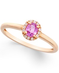 Macy's Pink Sapphire 1 2 Ct. T.W. And Diamond Accent Ring In 18K Rose Gold